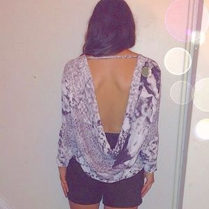 Long Sleeve Crepe Blouse with Open Back